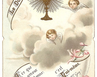 French Antique Holy Prayer Card Gold Communion Chalice and Little Angels with Pink Flowers Bouasse from Vintage Paper Attic