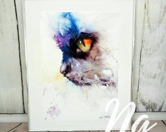 A3 limited edition black cat watercolour painting print from my original painting ,  Cat Wall Art, Home Decor, cats, cat painting watercolor
