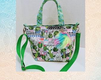 Crossbody Bag / Cactus Bag / Small Cactus Bag / Custom Made / Fuzzy key Ring / Handmade Bag