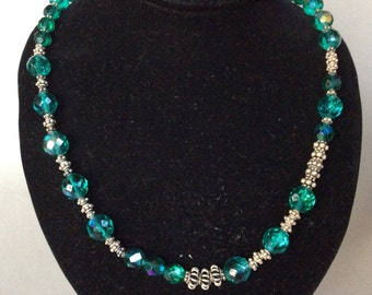 Sterling Silver and Blue-Green Crystal Necklace