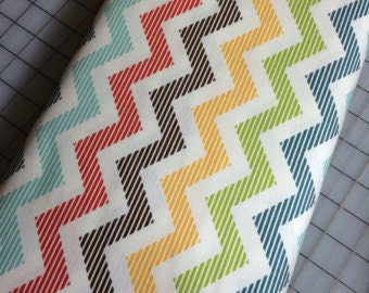 Aqua Blue Yellow Green Brown Chevron Cotton Fabric in Yard, 3/4, Half and 1/4 School Days by Zoe Pearn for Quilting Sewing by Riley Blake
