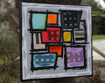Abstract painting contemporary geometric painting canvas