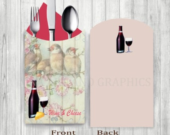 Vintage style wine and cheese party  Utensil holder - wine and cheese  napkin holder  Printable paper cutlery holder Instant Download