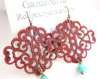 Red Boho Earrings, Patina Earrings, Filigree Dangle, Patina Jewelry, Moroccan Earrings, Bohemian Style, Redpeonycreations
