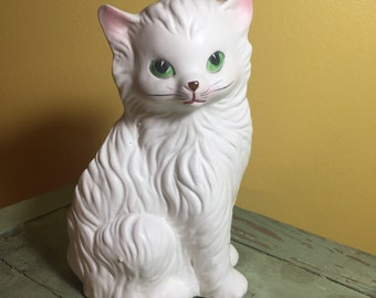 Large Vintage White Ceramic Cat Planter