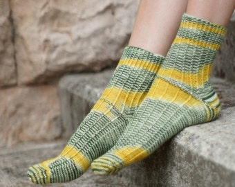 Hand knit womens Socks for her yellow green