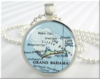 Grand Bahama Map Pendant, Bahama Islands Map Necklace, Caribbean Islands, Picture Jewelry, Round Silver, Gift Under 20, Travel Gift 652RS