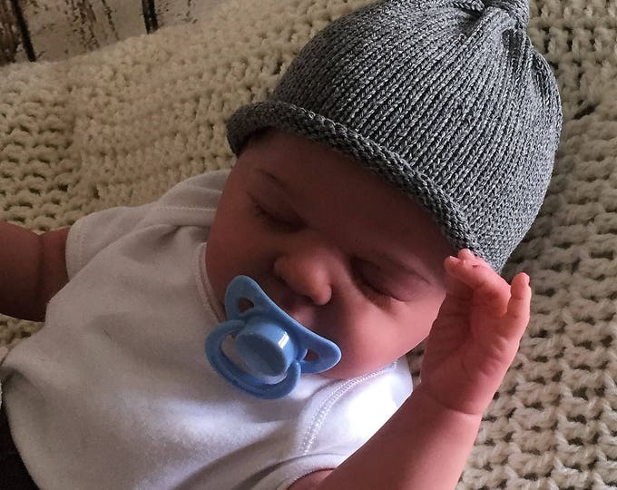 Hand made knit baby beanie hat knitted cottongrey baby girl baby boy unisex sizes from newborn photo prop new baby gift
