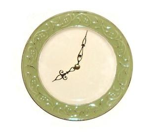 Sage Antiqued Floral Wall Clock - Ceramic Plate Clock - Kitchen Clock - Unique Wall Clock - Wall Decor - 1432