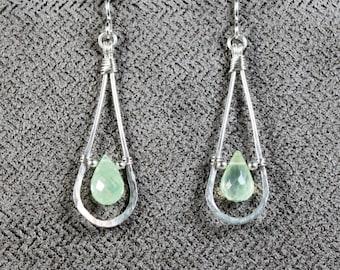 Sterling Silver Prehnite Teardrop Earrings