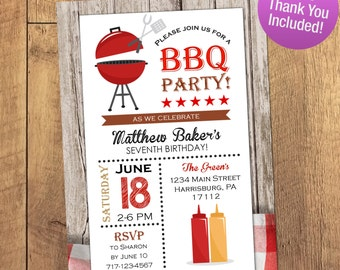 Summer BBQ Invitation, Printable Invitation, Black and Red BBQ Invite, FREE Thank You, Cookout, Birthday Bbq Party, Summer