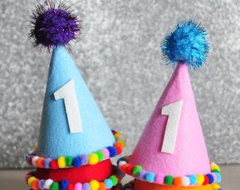 1st birthday hat.Kids birthday hat.Birthday hat.Birthday headband.Pompon party hats.Felt crown.Handmade and Ready to ship!