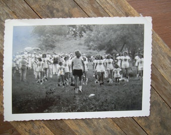 Vintage Snapshot Photo - Majorettes - Marching Band In Field