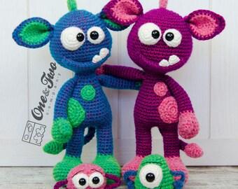 Mel the Monster and Friends Amigurumi - PDF Crochet Pattern - Instant Download - Amigurumi crochet Cuddy Stuff Plush