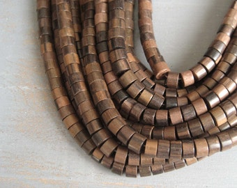 tiger ebony wood beads aka Camagong wood brown  rondelle barrel  from philippines  -  5 x 8 mm / half strand 40 pcs  - 3aph79