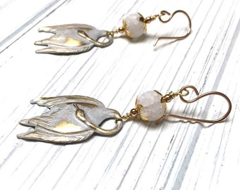 Swan Charm Earrings. Long Drop Earrings. Water Bird. Dangle Earrings. White. Gold. Bronze Ear Wires. Handmade Jewelry. 48mm. One Pair.