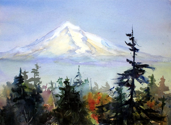 Mt. Hood 235 -- a signed print of a watercolor painting done by Columbia Gorge artist Bonnie White