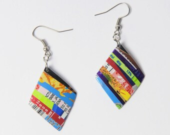 Soda can earrings , FREE SHIPPING, diamond shape soda can earrings - earth gifts - ethical gifts - upcycled recycled repurposed jewelry
