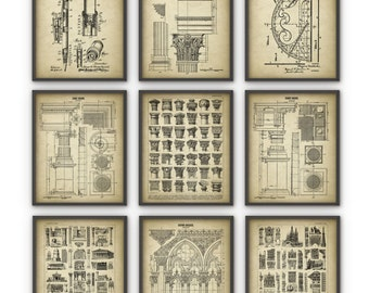 Architect Prints Set of 9 - Architecture Posters - Building Design - Gothic - Corinthian - Ionic - Doric - Architect Student Equipment