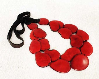 Red Necklace - Statement Necklace of Tagua - Chunky Necklace - Fair Trade - Bib Necklace - Womens Gifts - Head-Turning Red Jewelry for Women