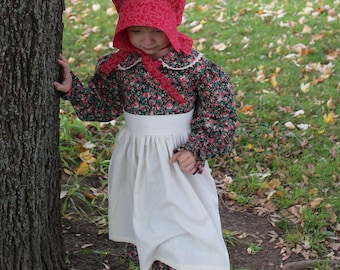 Girl's Mary Pioneer Dress w/ Half Apron and Bonnet Size 3/4 -Ready to Ship