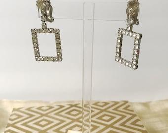 Vintage Rectangle Rhinestone Earrings