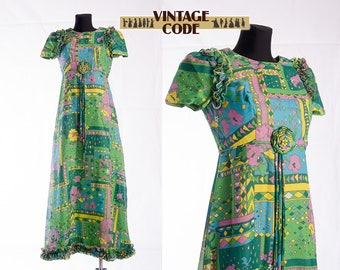 Green Pucci style 70s Maxi Dress / Ruffled Abstract Floral Groovy 1970s vintage Maxi Hostess dress / Size Small