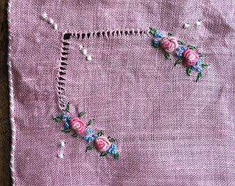 Hand Stitched handkie, scarf delicate rose embroidered handkerchief hankie