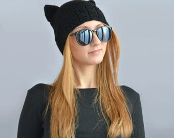 Black Cat Hat, Knit Cat Ear Hat or Cat Beanie, Womens Cat Hat or Mens Cat Hat
