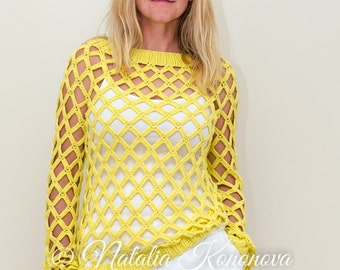 Sunny Seine Off-Shoulder Sweater Crochet PATTERN  - Women Net Top - Summer, Open Stitch - Small to Plus Sizes, with Graphs - PDF