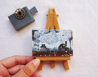 Gift for movie lovers, vintage enthusiast, original, hand painted, acrylic on canvas 5 x 7 cm