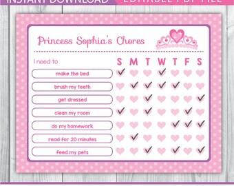 chore chart / chore chart printable / kids chore chart / chore charts for children / princess chore charts / pink chore chart / PDF INSTANT