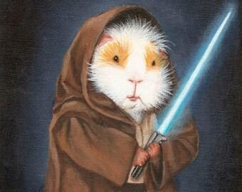 Guinea Pig Jedi Cute Guinea Pig Star Wars Fan Art Print