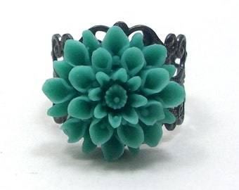 Teal Flower Cocktail Ring . COOL BREEZE