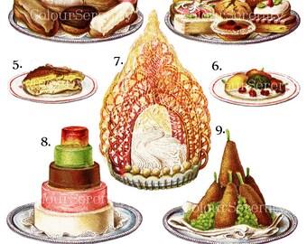 Vintage Dessert Clip Art Printable Instant Download 11 images