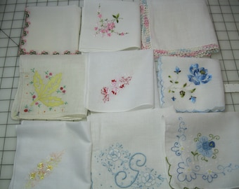 Lot of Nine Vintage Handkerchiefs