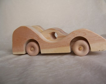 Toy Car Road Racer, Sleek and Fast, Ready to Play with the Kids, Children, Handcrafted from Reclaimed Wood