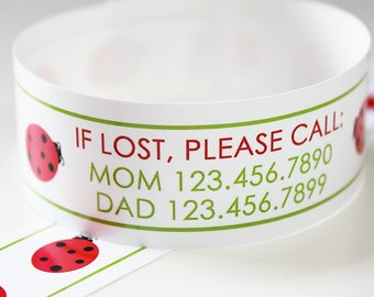Custom Vinyl Ladybug ID Bracelets - Personalized ID Bands - #Kids #Travel #Safety #Medical
