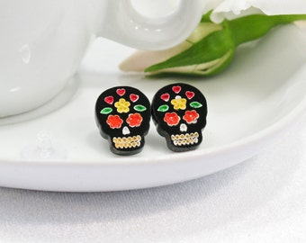 Multicolor Orange and Yellow Hand-Painted Black Sugar Skull Stud Earring