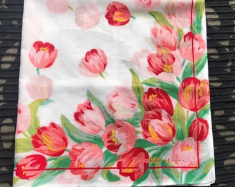 Vintage tulip pattern handkerchief.