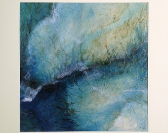 Abstract painting in blue and green. Ink, pigments and collage on canvas, original painting, abstract art