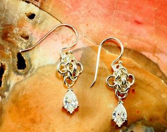 Earrings Sterling Silver filled Swarovaki Clear Cubic Zirconia  Drops