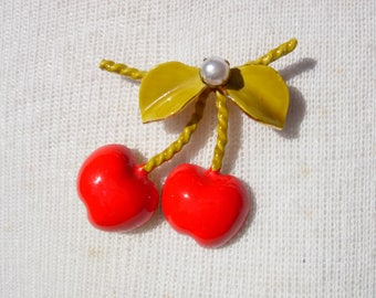 Vintage Enamel Red Cherry Brooch Pin