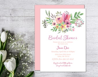 Bridal Shower Invitation, Wedding Shower, Floral, Watercolor, Bright, Spring and Summer, Customizable