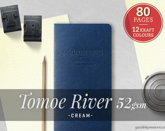 80 Pages- TOMOE RIVER Cream Midori Inserts - Notebook Regular A5 Wide B6 Slim Personal A6 Pocket FN Passport