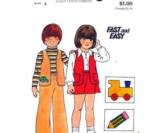 Kids 70s Vest Skirt Flared Pants Pattern Butterick 3871 Boys & Girls Size 4 Vintage Sewing Pattern