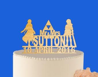 wedding cake topper Link and Zelda - wood wedding cake topper Link and Zelda - rustic - shabby chic decor L2-01-001