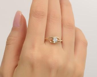 Engagement Ring - 14K Gold and Moissanite engagement ring, celtic ring, engagement ring, Moissanite ring, art deco, edwardian, R009