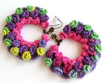 pom pom earrings, big statement earrings, large round earrings, huge earrings, oversized earrings, ooak crochet earrings, big earrings