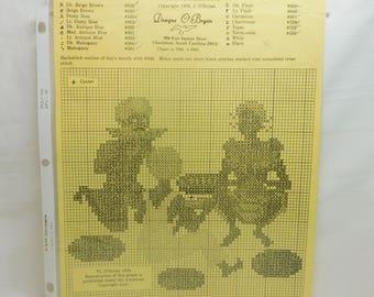 Vintage Sharing Melons Cross Stitch Pattern by Designs J. O'Bryan 1976 Southern South Black Americana Needle Craft Needlepoint